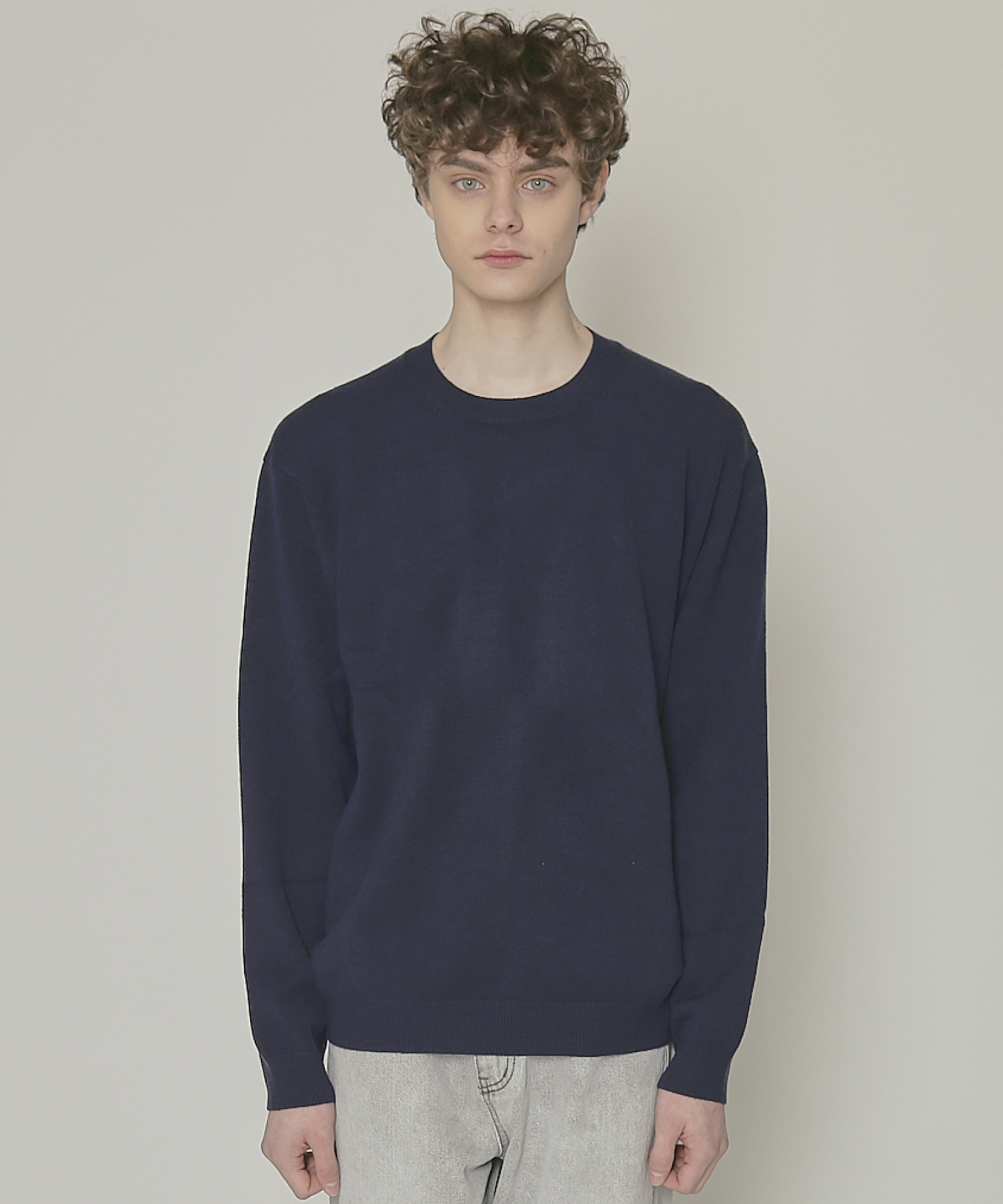 DWS SOFT BASIC ROUND SWEATER(NAVY)